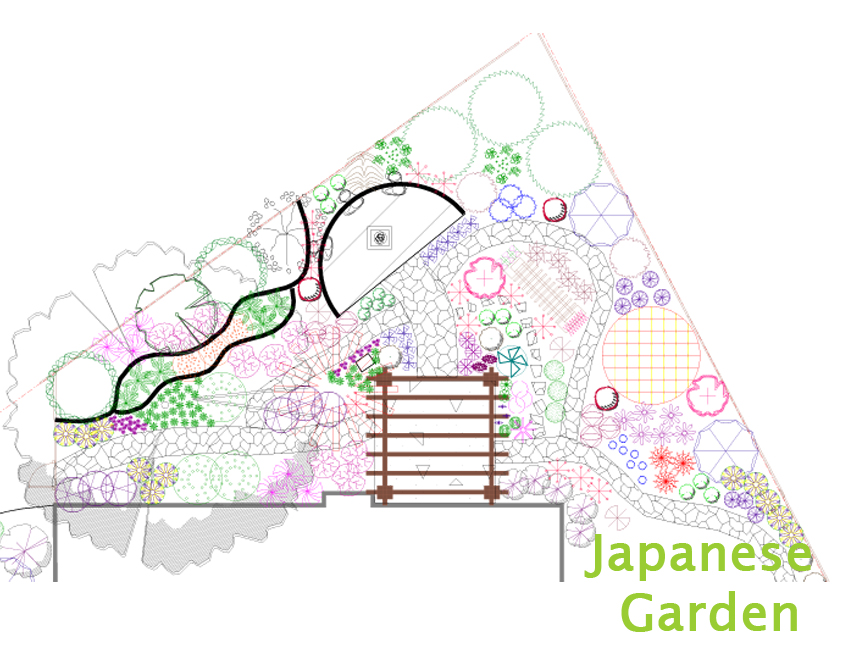 Japanese Garden Landscape Plan Drawing